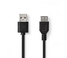 Câble USB | USB 2.0 | USB-A Mâle | USB-A femelle | 480 Mbps | Plaqué nickel | 2.00 m | Ronde | PVC | Noir | blister