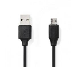 Câble USB   USB   USB-A Mâle   USB Micro-B mâle réversible   Plaqué nickel   1.00 m   Ronde   PVC   Noir   blister