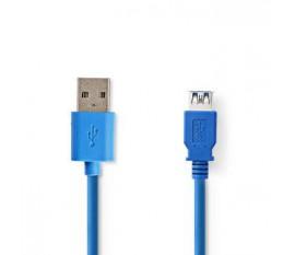 Câble USB | USB 3.2 Gen 1 | USB-A Mâle | USB-A femelle | 5 Gbps | Plaqué nickel | 2.00 m | Ronde | PVC | Bleu | blister