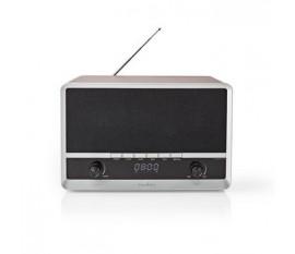 """Radio FM   Conception de table   AM / FM   Alimenté par pile / Alimenté par port USB   Numérique   12 W   Taille de l'écran: 1.6 """"   Écran bleu noir   Bluetooth®   Réveil   Marron/Noir"""