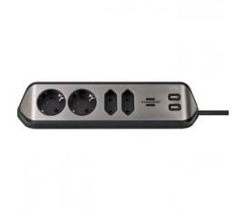 Prise d'extension Desktop-Power 4 Voies 2.00 m Argent - Le contact de protection