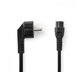 Câble de rallonge électrique | IEC-320-C13 | IEC-320-C14 | Coudé à 90° | Droit | Plaqué nickel | 3.00 m | Rond | PVC | Noir | étiquette