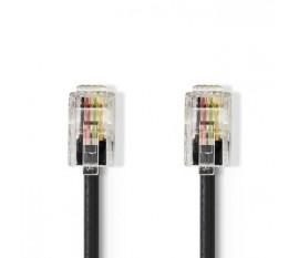 Câble Telecom | RJ10 (4P4C) Mâle | RJ10 (4P4C) Mâle | 5.00 m | Conception de câble: Enroulé | Type de câble: RJ10 | Noir/Transparent