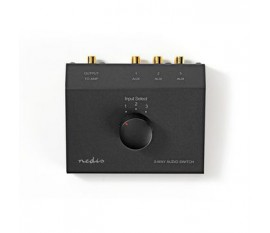 Commutateur audio analogique | 3-Port | Entrée de connexions: 3x (2x RCA Femelle) | Sortie de connexions: 1x (2x RCA Femelle) | Manuelle | Métal | Noir