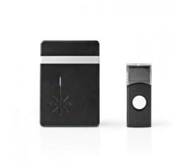Kit de sonnette sans fil | Alimenté par pile | 3 V DC | 2x AA | 1x CR2032 | Batteries incluses | Volume: 80 dB | Portée du signal: 300 m | IP44 | 36 Mélodies | 1 Récepteur | Noir/Aluminium