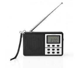 Radio universelle   Conception portable   AM / FM / SW   Alimenté par pile   Numérique   1.5 W   Sortie casque   Réveil   Minuterie de sommeil   Poignee de transport   Noir/Argent