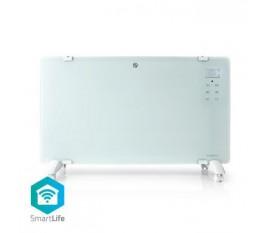 SmartLife Radiateur à convection | Wi-Fi | Convient pour la salle de bain | Panneau de verre | 2000 W | 2 Réglages de Chaleur | Écran LED | 15 - 35 °C | Thermostat réglable | Blanc