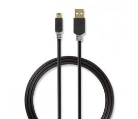 Câble USB 2.0 | A Mâle - Mini Mâle à 5 Broches | 2,0 m | Anthracite