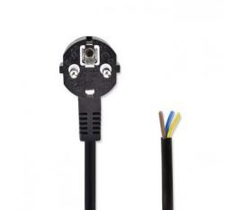 Câble d'alimentation | Schuko Male | Ouvert | 2.00 m | Coudé | 3x 1.00 mm² | Cuivre | Rond | Nickel | H05VV-F 3G1.0mm² | PVC | Fiche d'alimentation: Type F (CEE 7/7) | Alimentation secteur | 250 V ~ 50/60 Hz | 16.0 A | 4000 W | 202.00 g | 1 pc | Noir
