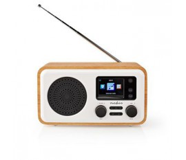 """Radio internet   Conception de table   Bluetooth® / Wi-Fi   DAB+ / FM / Internet   2.4 """"   Écran couleur   7 W   Télécommandé   Application contrôlée   Réveil   Blanc / Bois"""