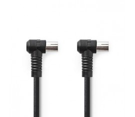 câble Coax | IEC (Coax) Mâle | IEC (Coax) Femelle | Plaqué nickel | 75 Ohm | Quad blindé | 5.00 m | Rond | PVC | Noir | Sac en plastique