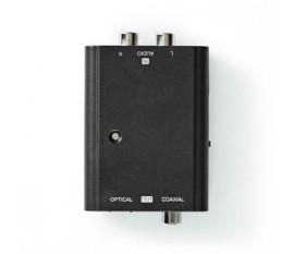 Convertisseur audio digital | Deux voies | Entrée de connexions: 2x RCA Femelle | Sortie de connexions: 1x S/PDIF (RCA) Femelle / 1x TosLink Femelle | Manuelle | Noir