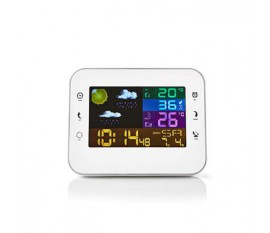 Staion météo   Intérieur et extérieur   Y compris capteur météo sans fil   Prévisions météorologiques   Écran LCD couleur   Avec affichage de l'heure   Incluant la fonction de réveil