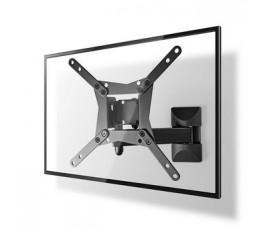 """Montage TV mural mouvement intégral   10-32 """"   Poids d'écran maximal pris en charge: 30 kg   Inclinable   Rotatif   Distance minimale du mur: 68 mm   Distance maximale du mur: 370 mm   3 Points de Pivot   Acier   Noir"""