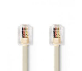 Câble Telecom   RJ11 (6P4C) Mâle   RJ11 (6P4C) Mâle   2.00 m   Conception de câble: Plat   Type de câble: RJ11   Ivoire / Transparent