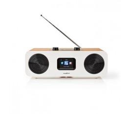 """Radio internet   Conception de table   Bluetooth® / Wi-Fi   DAB+ / FM / Internet   2.4 """"   Écran couleur   34 W   Télécommandé   Application contrôlée   Réveil   Blanc / Bois"""