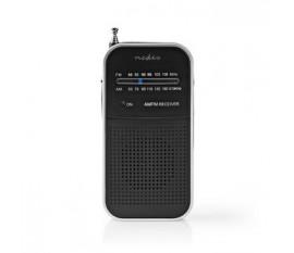 Radio FM | Conception portable | AM / FM | Alimenté par pile | Analogique | 1.5 W | Écran noir blanc | Sortie casque | Aluminium / Noir