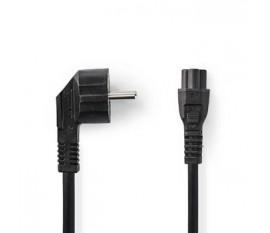 Câble d'alimentation | Prise de terre mâle | IEC-320-C5 | Coudé | Droit | Plaqué nickel | 3.00 m | Rond | PVC | Noir | Sac en plastique