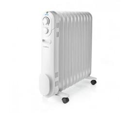 Radiateur mobile d'huile   1000 / 1200 / 2200 W   11 Fins   Thermostat réglable   3 Réglages de Chaleur   Protection contre les chutes   Blanc