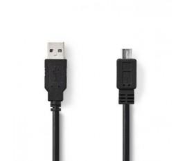 Câble USB 2.0 | A Mâle - Micro B Mâle | 1,0 m | Noir