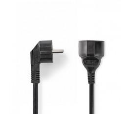 Câble d'Alimentation | Schuko Mâle Coudé - Schuko Femelle | 2,0 m | Noir
