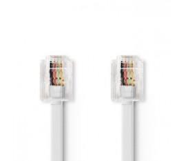 Câble de Télécommunication | RJ11 (6P4C) femelle - RJ11 (6P4C) femelle | Plat | 5 m | Blanc