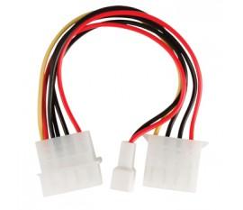 Câble d'alimentation interne Molex Mâle - Molex Femelle + 3-Pin Fan Puissance 0.15 m