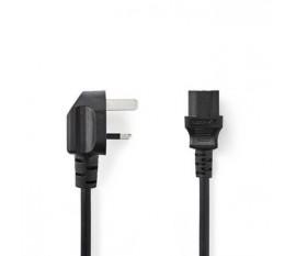 Câble d'Alimentation   Fiche mâle de type G (R-U) - CEI-320-C13   10 m   Noir