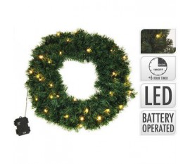 WREATH | 50 CM | 200 TIPS | 25 LED | BATTERY OPERATED