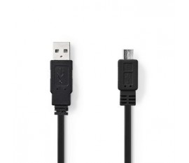 Câble USB 2.0 plat | A Mâle - Micro B Mâle | 1,0 m | Noir
