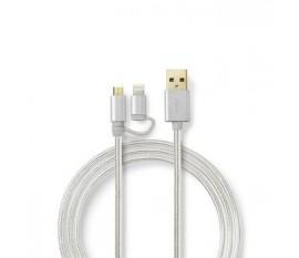 L'ensemble de Câbles de Synchronisation et de Charge 2-en-1 inclut un Adaptateur Lightning et un Câble Plaqué Or de 1,0 m | USB-A Mâle vers USB Micro-B Mâle | Compatible avec les Appareils Apple