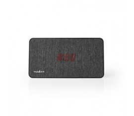 Enceinte Bluetooth® en Tissu | 15 W | Jusqu'à 4 Heures de Lecture | Horloge Numérique | Anthracite / Noire