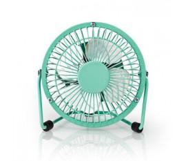 Mini-Ventilateur Métallique | Diamètre de 10 cm | Alimenté par USB | Turquoise