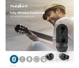 Écouteurs Bluetooth® Entièrement Sans Fil   4 Heures d'Autonomie   Commande Vocale   Commande Tactile   Étui De Chargement à Haut-Parleur   Noirs