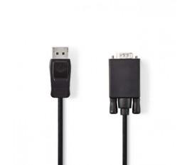 Câble DisplayPort vers VGA   DisplayPort Mâle - VGA Mâle   1,0 m   Noir