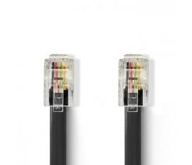 Câble de Télécommunication | RJ10 (4P4C) mâle - RJ10 (4P4C) mâle | Spiralé | 1 m | Noir