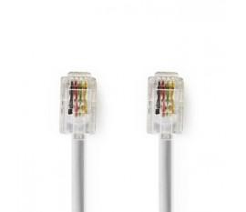 Câble de Télécommunications | RJ10 Mâle - RJ10 Mâle | 2,0 m | Blanc