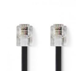 Câble de Télécommunication | RJ11 (6P4C) femelle - RJ11 (6P4C) femelle | Plat | 2 m | Noir