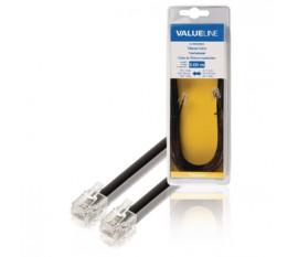 Câble de Télécommunication RJ11 (6P4C) Femelle - RJ11 (6P4C) Femelle Nappe 5.00 m Noir