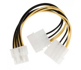 Câble d'alimentation interne EPS 8-pins Mâle - 2x Molex Mâles 0.15 m