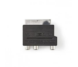 Adaptateur péritel commutable | Péritel Mâle - S-Vidéo Femelle + 3x RCA Femelle | Noir