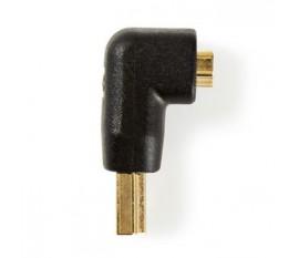 Adaptateur HDMI Coudé à 90° | Connecteur HDMI - HDMI Femelle | Noir