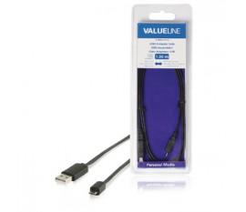 Câble adaptateur USB à connecteur USB 2.0 A mâle vers micro-USB 2.0 B mâle plat noir 1,00 m