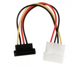 Câble adaptateur d'alimentation interne à connecteur SATA 15 broches femelle coudé à 270° vers Molex mâle 0,15 m multicolore