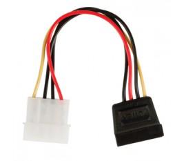 Câble adaptateur d'alimentation interne à connecteur SATA 15 broches femelle coudé à 90° vers Molex mâle 0,15 m multicolore