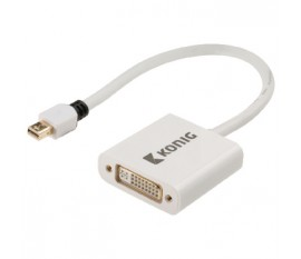 Câble adaptateur mini DisplayPort vers DVI, mini DisplayPort mâle vers DVI femelle, 0,20m, blanc