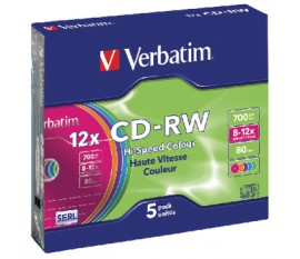 CD rewritable 5 pack colored 700 MB
