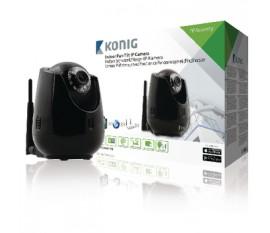 Caméra IP de télésurveillance d'intérieur de couleur noire avec fonction de panoramique et d'inclinaison