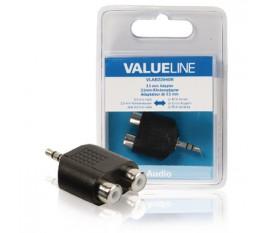 Adaptateur audio de Jack 3,5 mm mâle vers 2x RCA femelles noirs