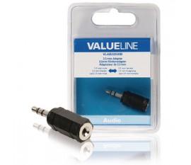 Adaptateur audio de Jack 3,5 mm mâle vers Jack 2,5 mm femelle noir